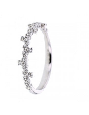 Bague alliance couronne de princesse zirconium en or blanc