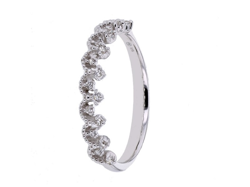 Bague alliance couronne de reine zirconium en or blanc