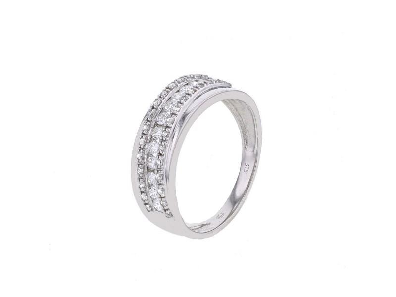 Channel set diamonds crossover band ring in 9 K gold