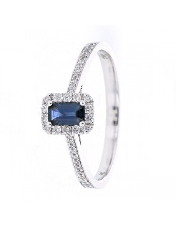 Diamond framed emerald cut sapphire ring in 9 K gold