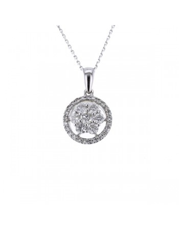 Collier multi-pierres diamants entourage sertis griffes en or blanc