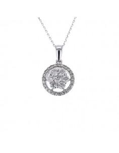 Collier multi-pierres diamants entourage sertis griffes en or blanc
