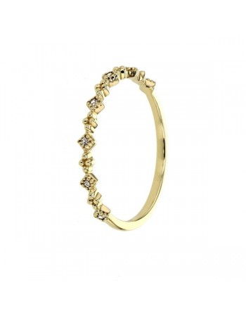 Byzantine style milgrain ring with cubic zirconia in 9 K gold