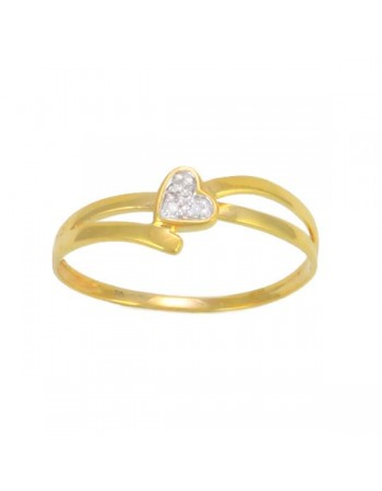 Mini heart pave set diamond ring in 9 K gold