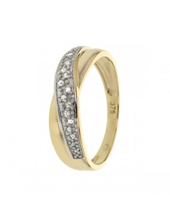 Diamond crossover band ring in 9 K gold