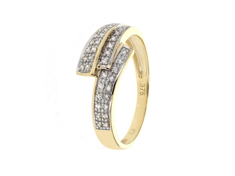 Bague pavage diamant en or jaune