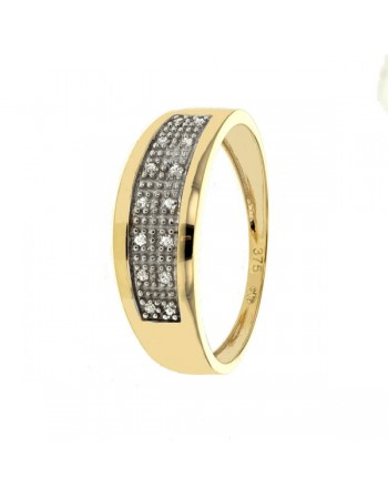 Shaped ring with pave set diamonds in 9 K gold