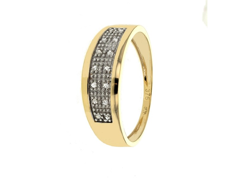 Bague pavage diamants en or jaune
