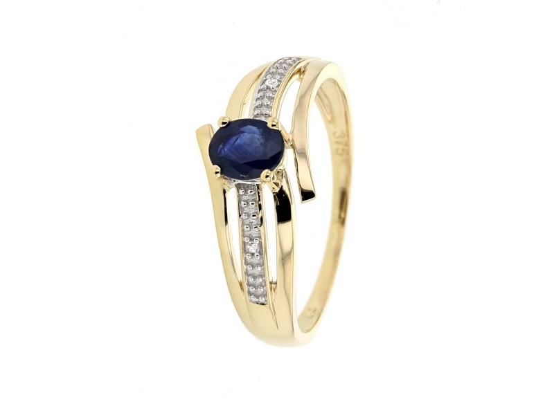 Bague saphir diamants en or jaune