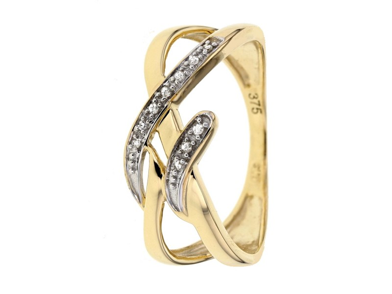 Interlacing ring with diamonds in 9 K gold