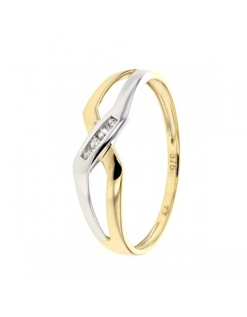 Bague diamants sertis rail en or jaune