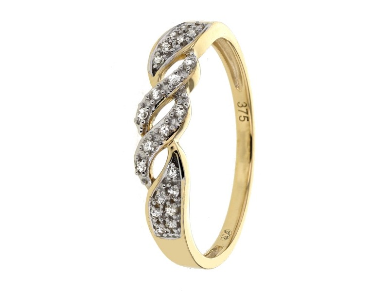 Twist diamond ring in 9 K gold
