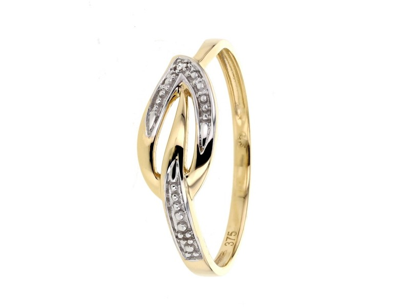 Pave set leaf shape ring in 9 K gold