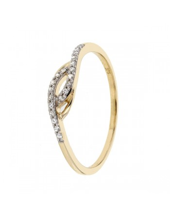 Pave set diamond ring in 9 K gold