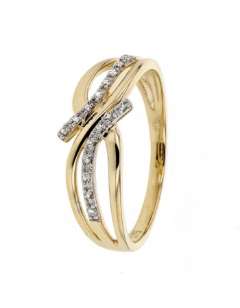 Double row of diamonds ring in 9 K gold