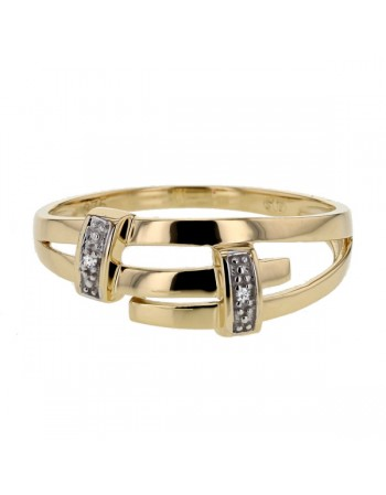 Bague double pavage de diamants en or jaune