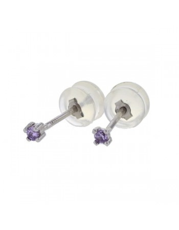 Light stud solitaire amethyst earrings in 9 K gold