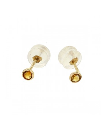 Bezel-set citrine earrings in 9 K gold