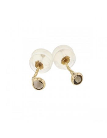 Bezel-set smoky quartz earrings in 9 K gold