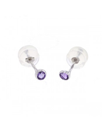 Bezel-set amethyst earrings in 9 K gold
