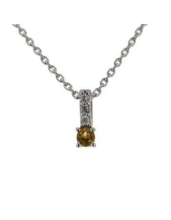 Diamond sided solitaire citrine necklace in 9 K gold