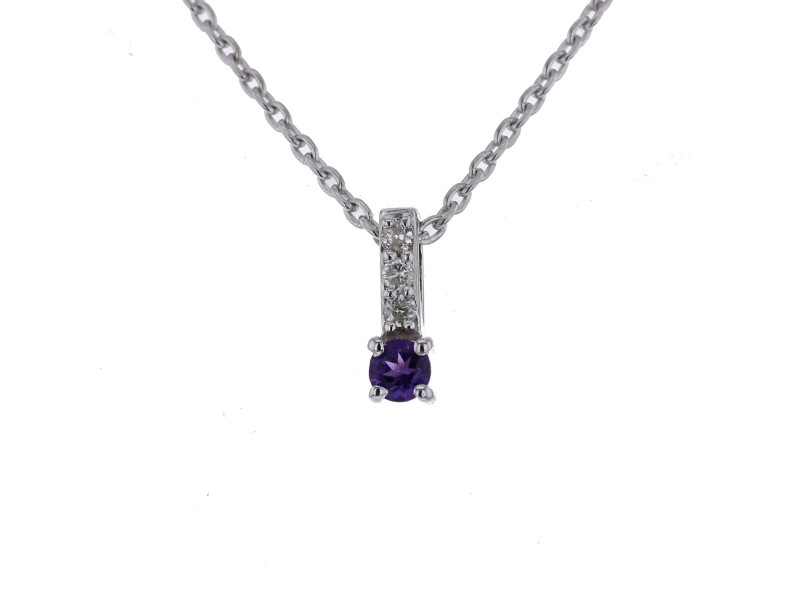 Diamond sided solitaire amethyst necklace in 9 K gold