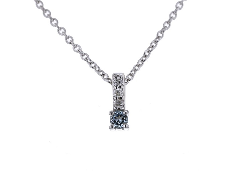 Collier baton topaze bleue et diamants en or blanc