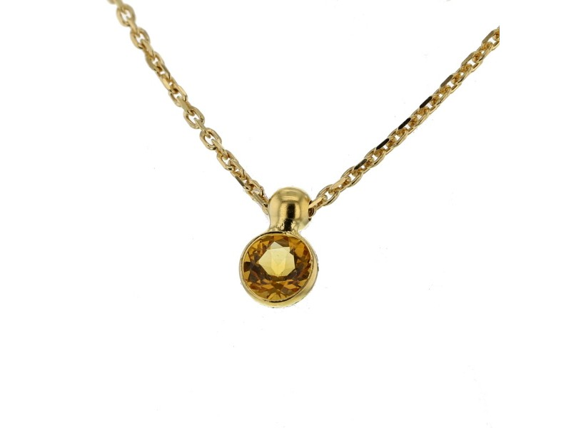 Bezel-set citrine pendant in 9 K gold