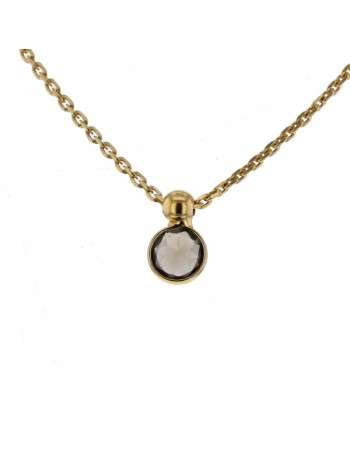 Bezel-set smoky quart pendant in 9 K gold