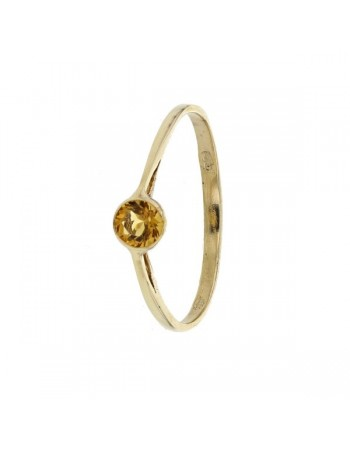 Bague bouton citrine en or jaune
