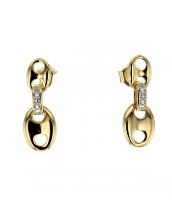 Boucles d'oreilles grains de café diamants en or jaune