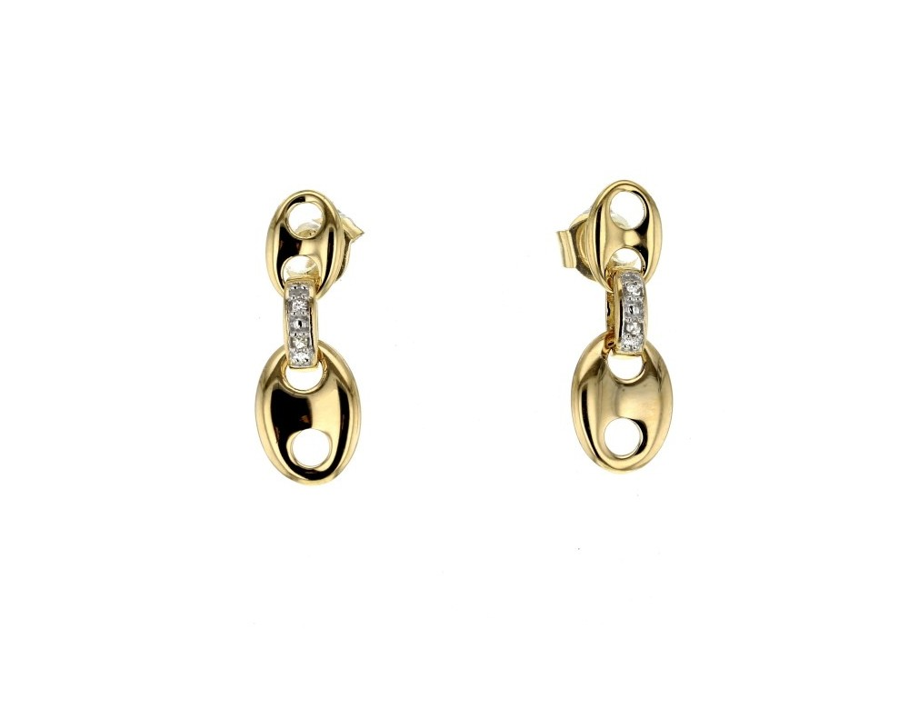 boucles d 39 oreilles diamant en or jaune 9 carats diamant 0. Black Bedroom Furniture Sets. Home Design Ideas