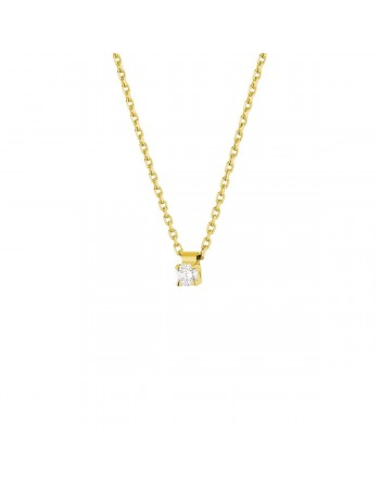Claw set solitaire diamond necklace in 18 K gold