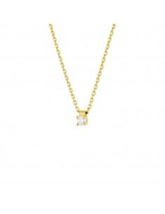 Collier clou diamant monté sur quatre griffes en or jaune