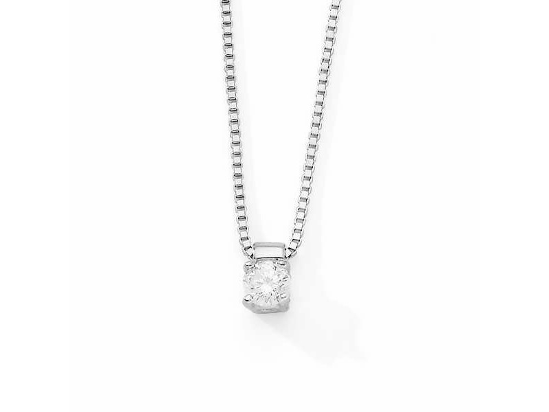 Claw set solitaire diamond necklace in silver