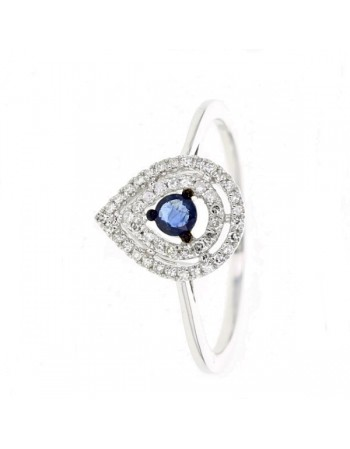 Pear shape diamond halo sapphire ring in 18 K gold