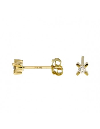 Three stone diamonds earrings in 18 K gold