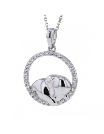 Cute puppy cz pendant in 9 K gold