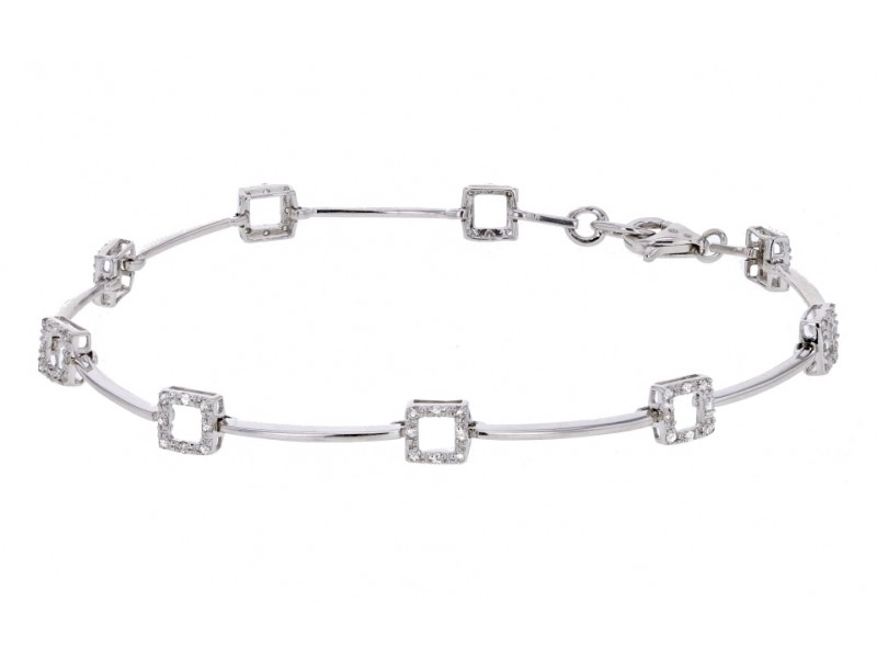 Bracelet maillons carrés diamants en or blanc