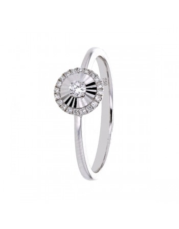Bague rond diamants sertis cnc en or blanc