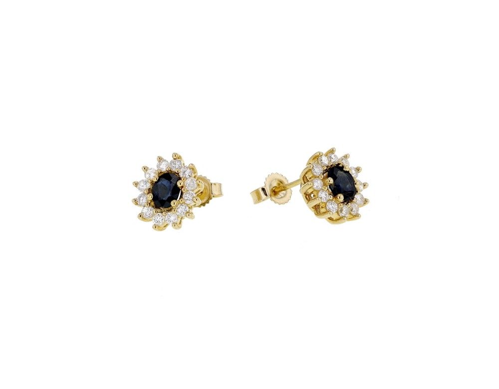 boucles d 39 oreilles saphir et diamants en or jaune 9 carats. Black Bedroom Furniture Sets. Home Design Ideas