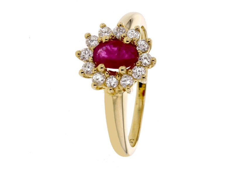 Classic rubis and diamond halo ring in 9 K gold