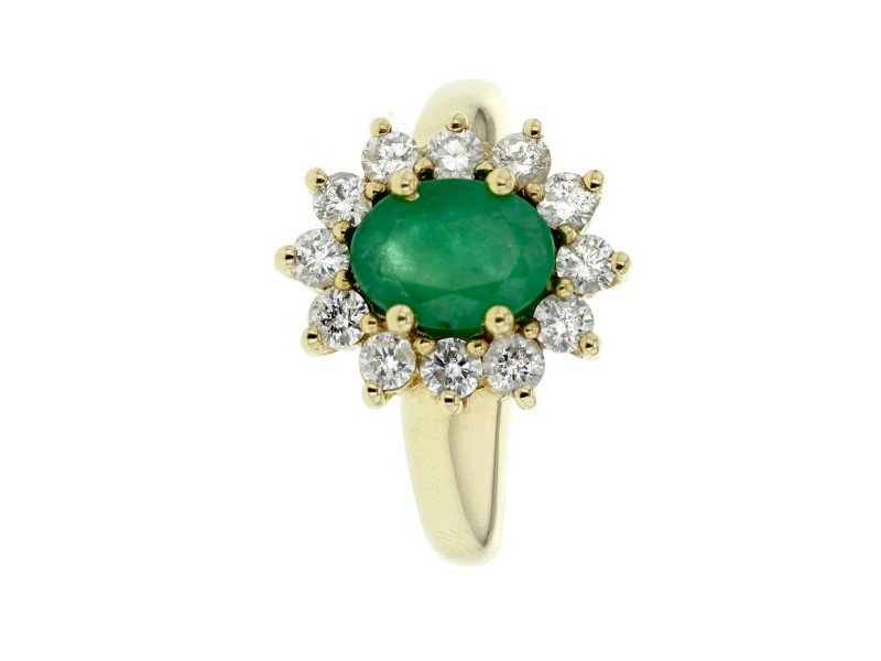 Classic emerald and diamond halo ring in 9 K gold