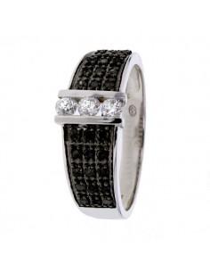 Bague solitaire et diamants noirs et blancs en or blanc