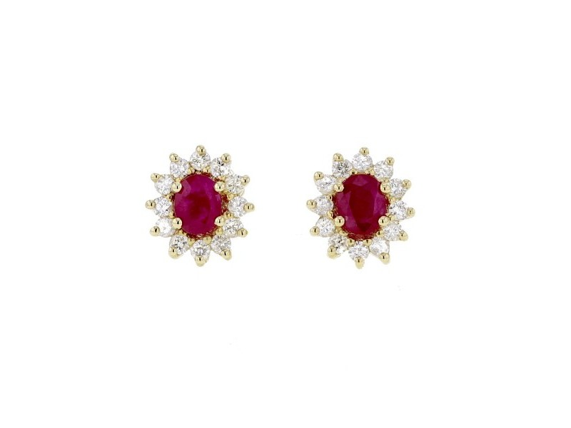 Diamond halo earrings with rubies in 18 K gold