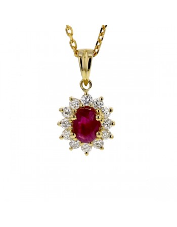 Diamond halo ruby pendant in 9 K gold