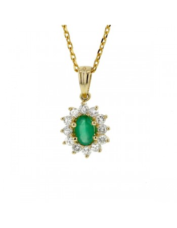 Diamond halo emerald pendant in 9 K gold