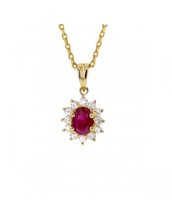 Pendentif rubis entourage de diamants en or jaune