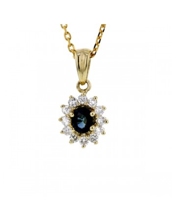 Pendentif saphir entourage de diamants en or jaune