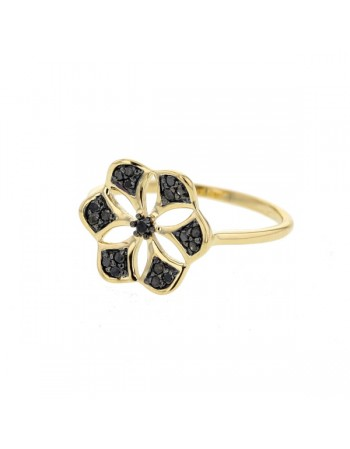 Black diamond set lotus-flower ring in 18 K gold